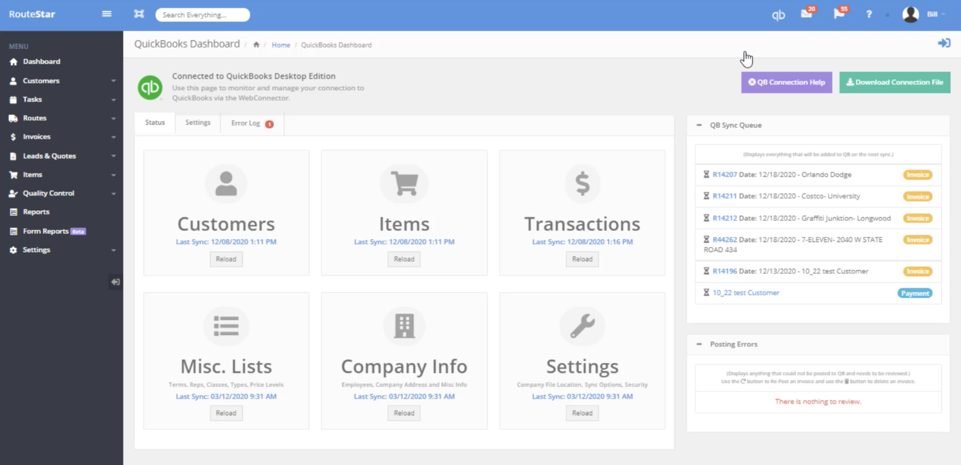 QuickBooks integration with RouteStar screenshot